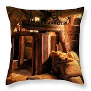 Inside The Old Mill Throw Pillow