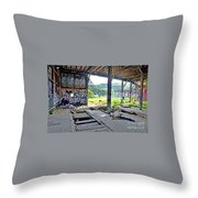 Inside The Old Train Roundhouse At Bayshore Near San Francisco And The Cow Palace Iv Throw Pillow