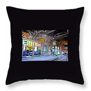 Inside The Old Train Roundhouse At Bayshore Near San Francisco And The Cow Palace V  Throw Pillow