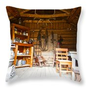 Inside The Real Sam Mcgee's Cabin In Macbride Museum In Whitehorse-yk Throw Pillow