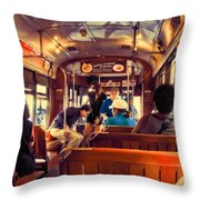 Inside The St. Charles Ave Streetcar New Orleans Throw Pillow