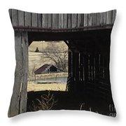 Barn - Kentucky - Inside Treasure Throw Pillow