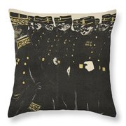 Inspection Of A Line Of Police Throw Pillow