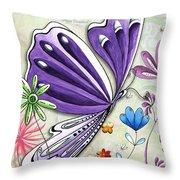 Inspirational Butterfly Flower Art Inspiring Quote Design By Megan Duncanson Throw Pillow