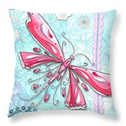 Inspirational Dragonfly Floral Fleur De Lis Art Sweet Charity By Megan Duncanson Throw Pillow