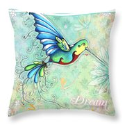 Inspirational Hummingbird Floral Flower Art Painting Dream Quote By Megan Duncanson Throw Pillow