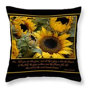 Inspirational Sunflowers Throw Pillow