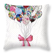 Inspirational Uplifting Floral Balloon Art A Bouquet Of Balloons Just For You By Megan Duncanson Throw Pillow