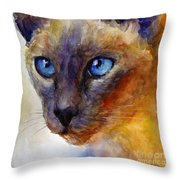 Intense Siamese Cat Painting Print 2 Throw Pillow by Svetlana Novikova