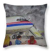 Interam Airlines Flight One Clearwater Florida To Bristol England Throw Pillow