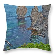 Interesting Rock Shapes In Trinity Bay Near Skerwink Trail-nl Throw Pillow