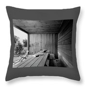 Interior End Of Porch With Vertical Louvers Throw Pillow