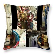 Interior Hatches Collage Russian Submarine Throw Pillow