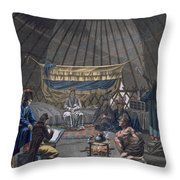 Interior Of A Kalmuk Yurt, 1812-13 Throw Pillow
