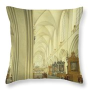 Interior Of Antwerp Cathedral, C.1668 Throw Pillow
