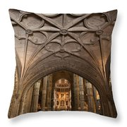 Interior Of Jeronimos Monastery Church In Lisbon Throw Pillow