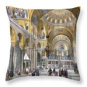 Interior Of San Marco Basilica, Looking Throw Pillow by Italian School