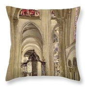 Interior Of The Cathedral Of St. Etienne, Sens Throw Pillow