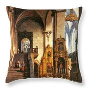 Interior Of The Dominican Church In Krakow Throw Pillow