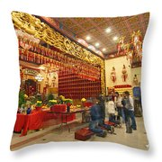 Interior Of Thien Hau Temple A Taoist Temple In Chinatown Of Los Angeles Throw Pillow