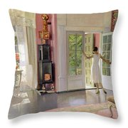 Interior Oil On Canvas Throw Pillow