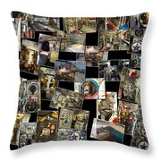 Interior Russian Submarine Horz Collage Throw Pillow