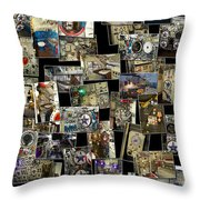 Interior Russian Submarine Vert Collage Throw Pillow
