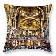 Interior St Marks Basilica Venice Throw Pillow