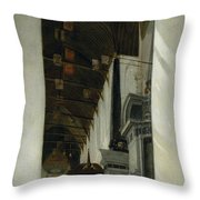Interior View Of The New Church In Delft Throw Pillow