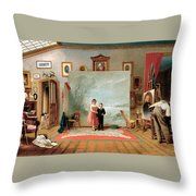 Interior With Portraits Throw Pillow