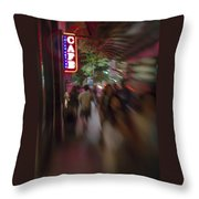 International Cafe Neon Sign And Street Scene At Night Santa Monica Ca Portrait Throw Pillow