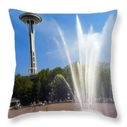 International Fountain And Space Needle Throw Pillow