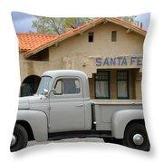 International Harvester L-110 Truck At Santa Fe Train Depot Throw Pillow