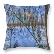 Intersecting Snow Streams Throw Pillow