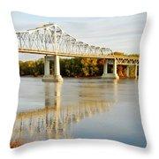 Interstate Bridge In Winona Throw Pillow