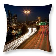 Interstate Traffic In Seattle Washington Throw Pillow