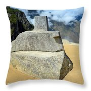 Inti Watana Stone Calendar At Machu Picchu Throw Pillow