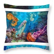 Into Deep Triptic Throw Pillow by Mo T