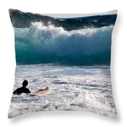 Into The Surf Throw Pillow