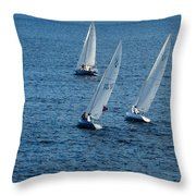 Into The Wind - Crisp White Sails On Blue Throw Pillow