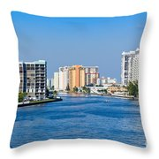 Intracoastal Waterway In Hollywood Florida Throw Pillow