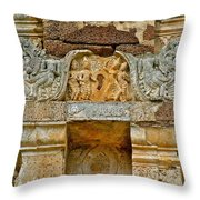 Intricate Carving At Wat Mahathat In 13th Century Sukhothai Hist Throw Pillow