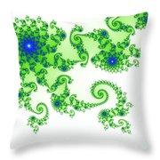 Intricate Green Blue Fractal Based On Julia Set Throw Pillow