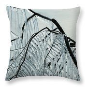 Intricate Ice Curtains Throw Pillow