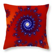 Intricate Red Blue Fractal Based On Julia Set Throw Pillow