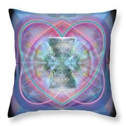 Intwined Hearts Chalice Wings Of Vortexes Radiant Deep Synthesis Throw Pillow