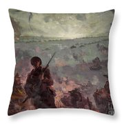 Invasion Scene In Europe Throw Pillow