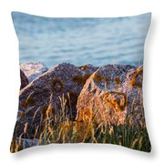 Inverness Beach Rocks  Throw Pillow