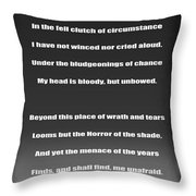 Invictus By William Ernest Henley Throw Pillow by Daniel Hagerman