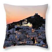 Ios Town During Sunset Throw Pillow